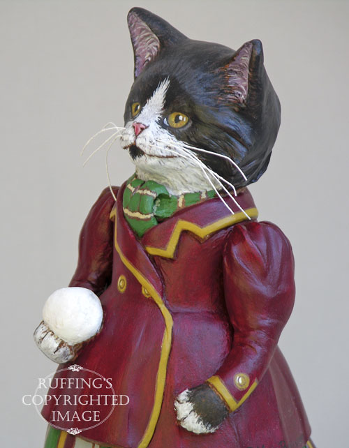 Millicent, Original One-of-a-kind Tuxedo Kitten Art Doll Figurine by Max Bailey
