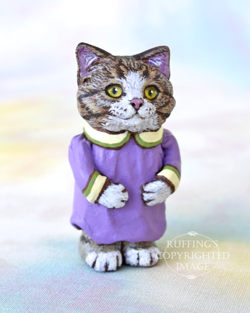 Millie, Original One-of-a-kind Dollhouse-sized Tabby-and-white Kitten by Max Bailey