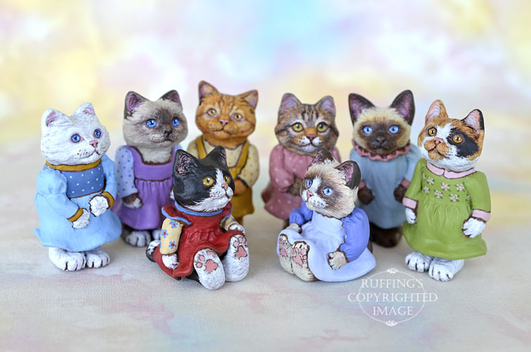 Original One-of-a-kind Dollhouse-sized Kitten Art Dolls by Max Bailey