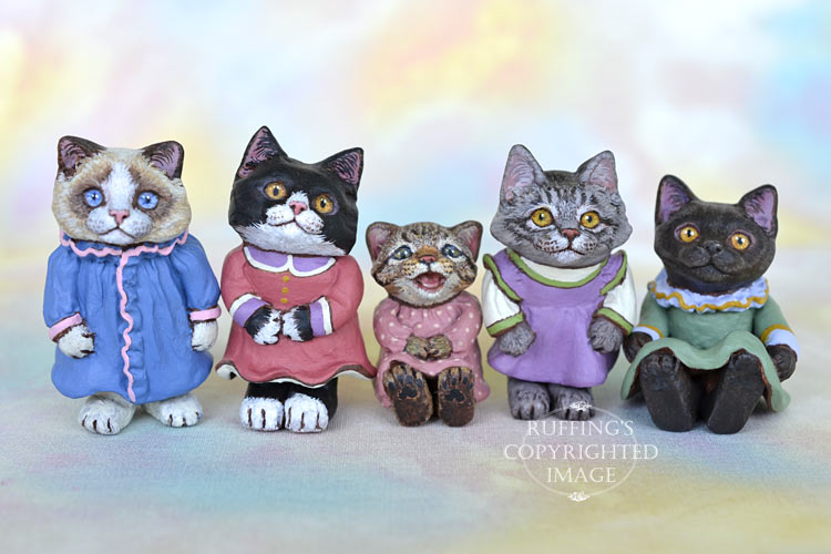 Miniature dollhouse-sized art doll kittens by Max Bailey