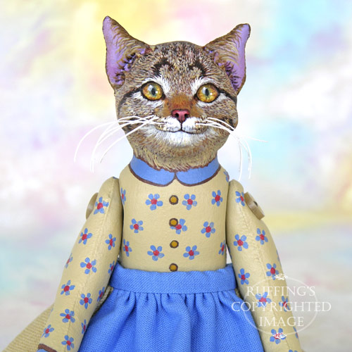 Minnie the Tabby Cat, Original One-of-a-kind Folk Art Cat Doll by Max Bailey