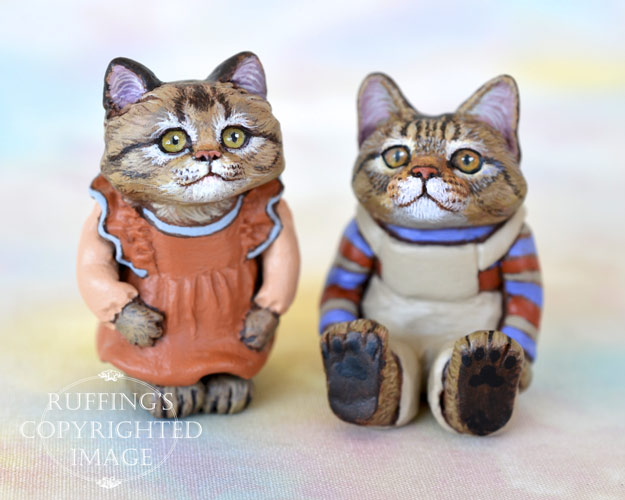Mirabelle and Freddie, miniature tabby cat art dolls, handmade original, one-of-a-kind kitten by artist Max Bailey