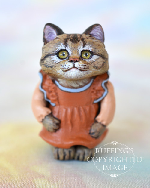 Mirabelle, miniature tabby cat art doll, handmade original, one-of-a-kind kitten by artist Max Bailey
