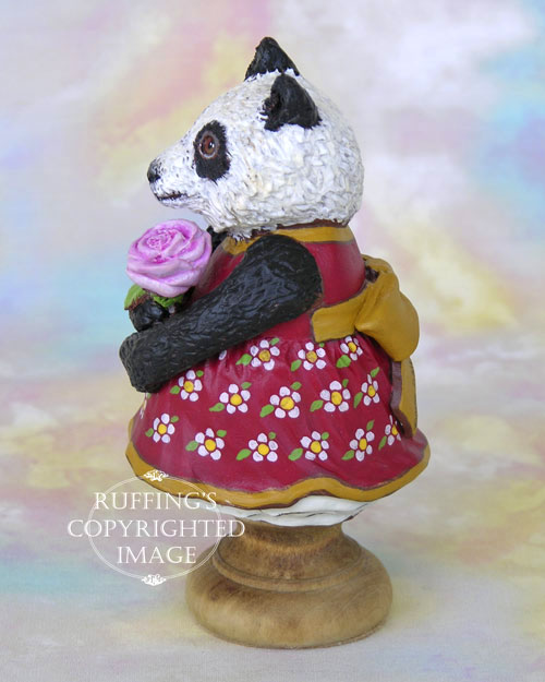 Miranda the Panda, Original One-of-a-kind Folk Art Doll Figurine by Max Bailey
