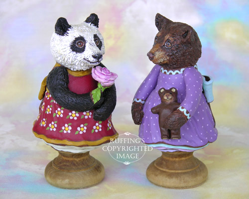 Miranda the Panda and Patsy the Brown Bear Cub, Original One-of-a-kind Folk Art Doll Figurines by Max Bailey