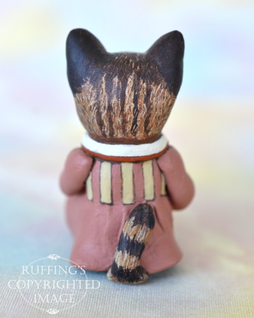 Miss Kitty, miniature tabby cat art doll, handmade original, one-of-a-kind kitten by artist Max Bailey