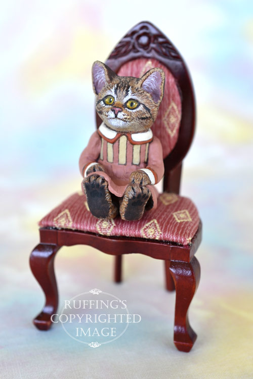 Miss Kitty, miniature tabby cat art doll, handmade original, one-of-a-kind kitten by artist Max Bailey