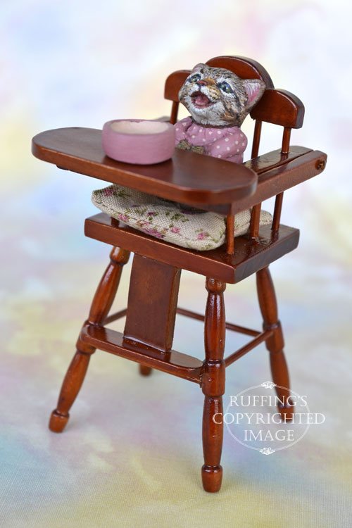 Mitzi, Original One-of-a-kind Dollhouse-sized Crybaby Tabby Kitten by Max Bailey