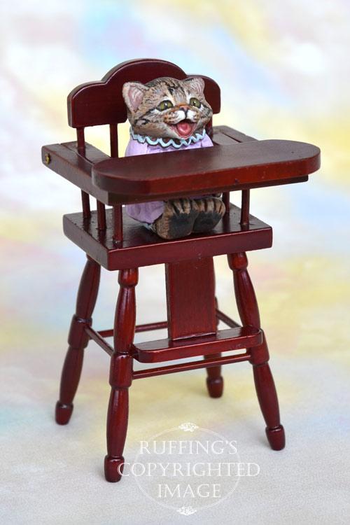 Mollie, miniature crybaby tabby cat art doll, handmade original, one-of-a-kind kitten by artist Max Bailey