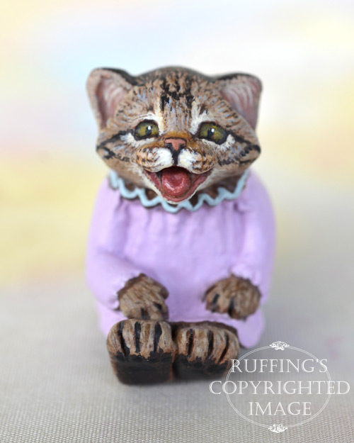 Mollie, miniature crybaby tabby cat art doll, handmade original, one-of-a-kind kitten by artist Max Bailey