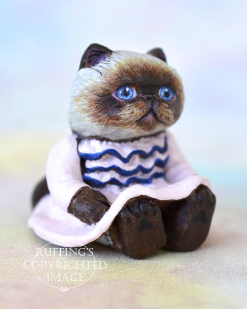 Mona, miniature Himalayan cat art doll, handmade original, one-of-a-kind kitten by artist Max Bailey