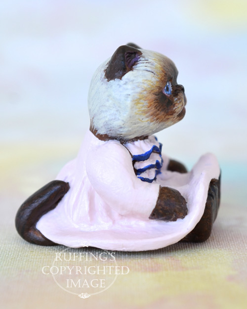Mona, miniature Himalayan cat art doll, handmade original, one-of-a-kind kitten by artist Max Bailey