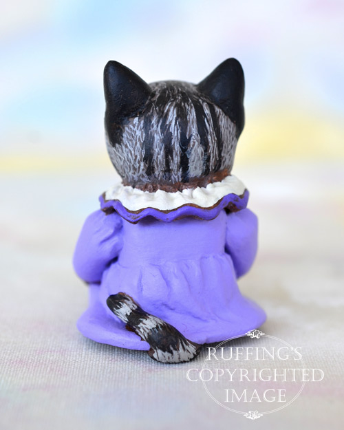 Naomi, miniature American Shorthair silver tabby cat art doll, handmade original, one-of-a-kind kitten by artist Max Bailey