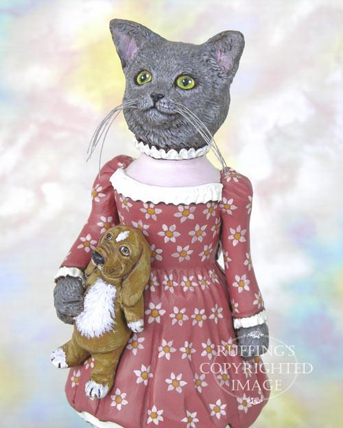 Natasha and Ivan, Original One-of-a-kind Russian Blue Cat Folk Art Doll Figurine by Max Bailey