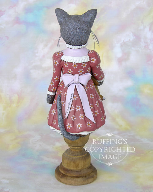 Natasha and Ivan, Original One-of-a-kind Russian Blue Cat Folk Art Doll Figurine by Max Bailey
