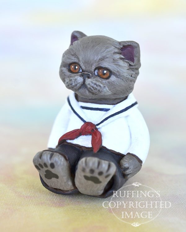 Nicholas, miniature Blue Persian cat art doll, handmade original, one-of-a-kind kitten by artist Max Bailey