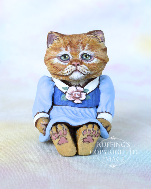 Nora, Original One-of-a-kind Dollhouse-sized Ginger Persian Kitten Art Doll by Max Bailey