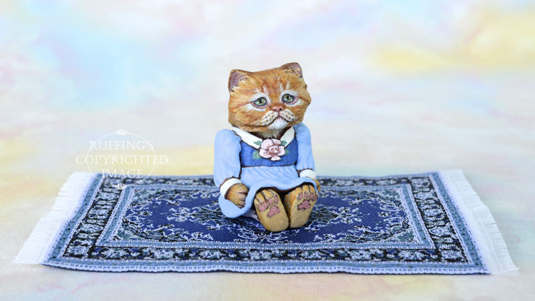 Miniature ginger Persian cat art doll, handmade original, one-of-a-kind kitten, Nora by artist Max Bailey