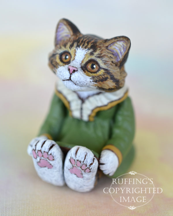Olga, miniature Norwegian Forest cat art doll, handmade original, one-of-a-kind kitten by artist Max Bailey