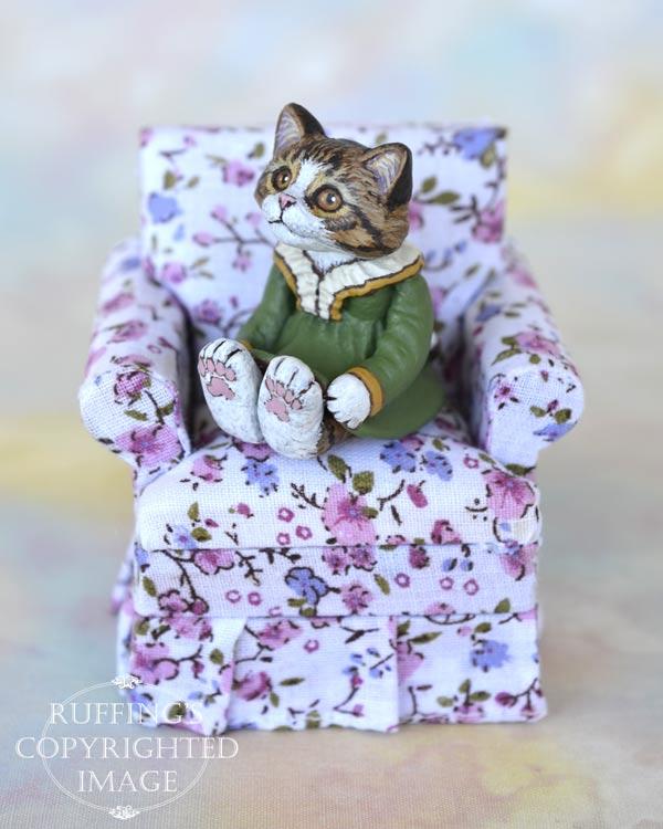 Olga, miniature Norwegian Forest cat art doll, handmade original, one-of-a-kind kitten by artist Max Bailey