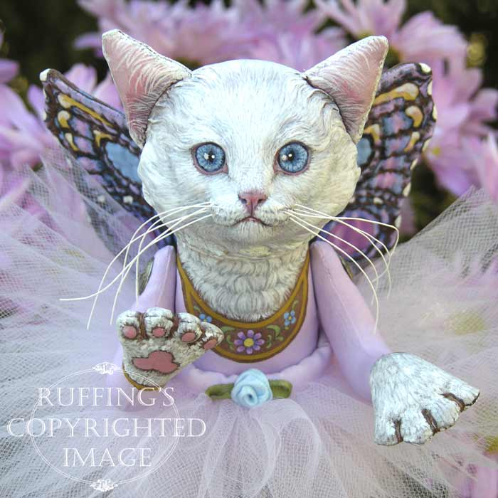 Opal the Pixie Kitten, Original One-of-a-kind Folk Art White Cat Fairy Doll by Max Bailey and Elizabeth Ruffing
