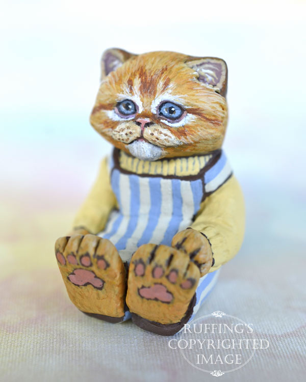 Otis, miniature ginger Persian, cat art doll, handmade original, one-of-a-kind kitten by artist Max Bailey