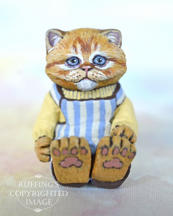 Otis, miniature ginger tabby Persian, cat art doll, handmade original, one-of-a-kind kitten by artist Max Bailey