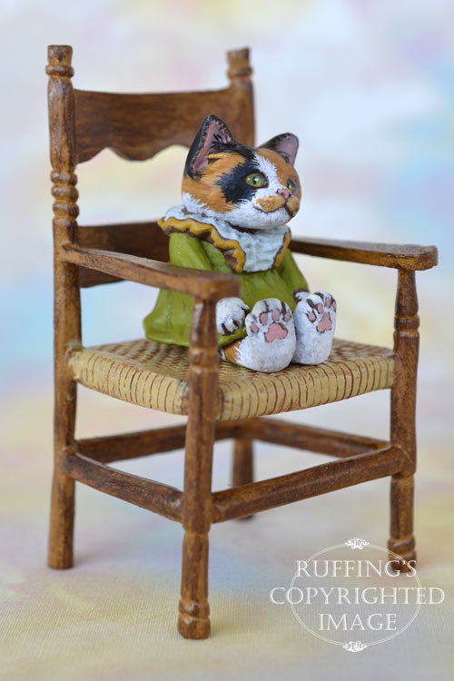 Patches, miniature calico cat art doll, handmade original, one-of-a-kind kitten by artist Max Bailey