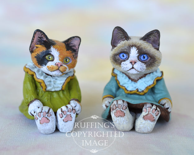 Patches and Kimmie, miniature calico and Ragdoll cat art doll, handmade original, one-of-a-kind kitten by artist Max Bailey