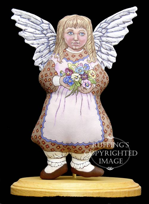 Patricia Angel of Pansies, Original One-of-a-kind Folk Art Doll by Max Bailey
