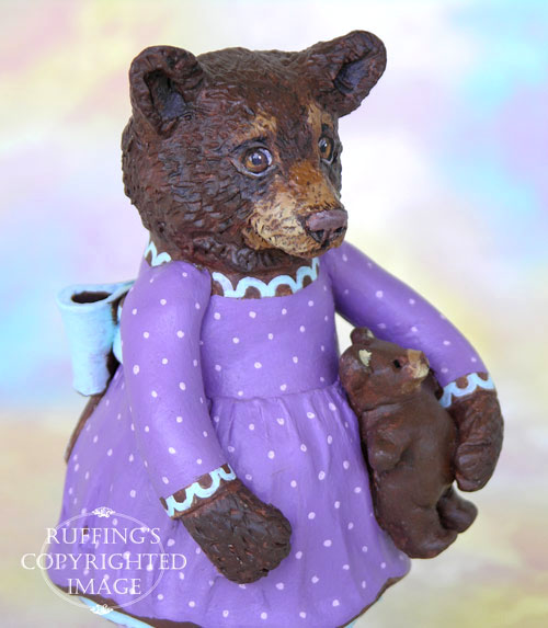 Patsy the Brown Bear Cub, Original One-of-a-kind Folk Art Doll Figurine by Max Bailey