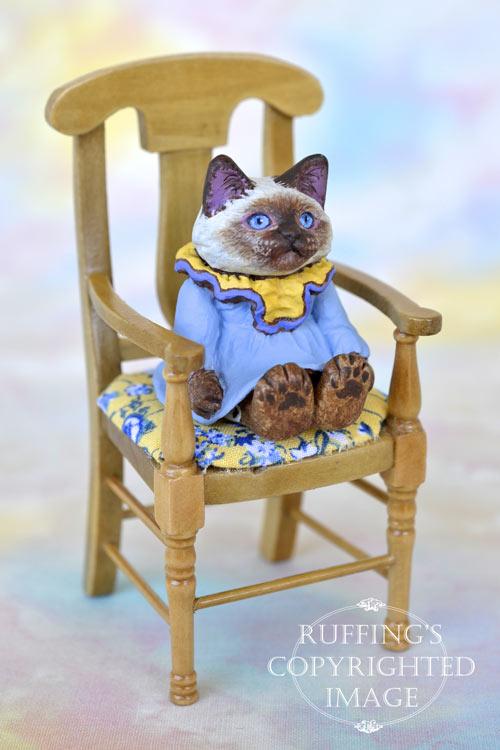 Paula, miniature Ragdoll cat art doll, handmade original, one-of-a-kind kitten by artist Max Bailey