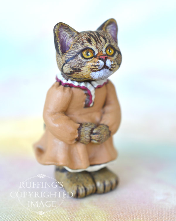 Pauline, miniature American Shorthair tabby cat art doll, handmade original, one-of-a-kind kitten by artist Max Bailey