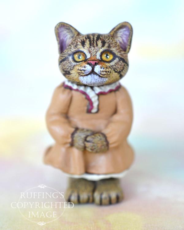 Pauline, miniature American Shorthair tabby cat art doll, handmade original, one-of-a-kind kitten by artist Max Bailey