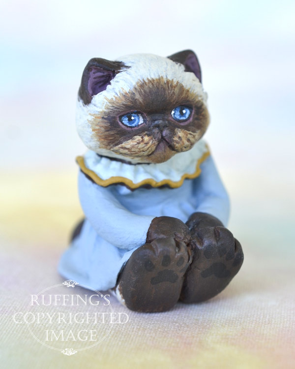 Pearl, miniature Himalayan cat art doll, handmade original, one-of-a-kind kitten by artist Max Bailey