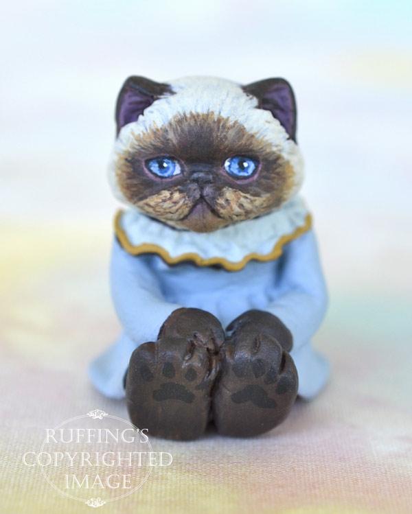 Pearl, miniature Himalayan cat art doll, handmade original, one-of-a-kind kitten by artist Max Bailey