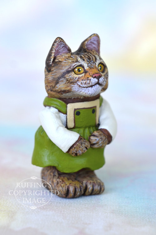 Pepper, Original One-of-a-kind Dollhouse-sized Tabby-and-white Kitten by Max Bailey