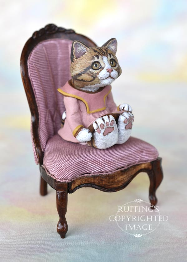 Pinky, miniature Norwegian Forest Cat tabby-and-white kitten art doll, handmade original, one-of-a-kind kitten by artist Max Bailey
