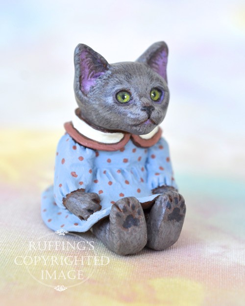 Polly, miniature Russian Blue cat art doll, handmade original, one-of-a-kind kitten by artist Max Bailey