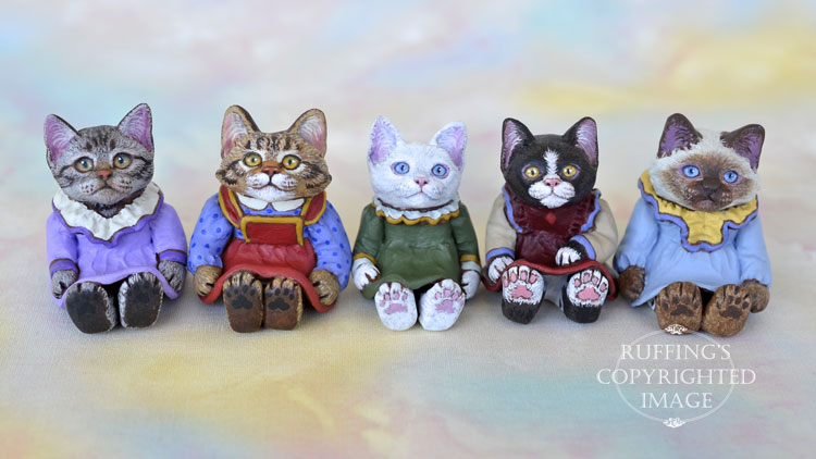 Dakota and friends, miniature cat art dolls, handmade original, one-of-a-kind kitten by artist Max Bailey