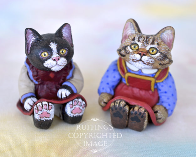 Poppy and Dakota, miniature tuxedo and tabby Maine Coon cat art dolls, handmade original, one-of-a-kind kitten by artist Max Bailey