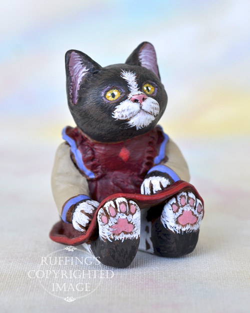 Poppy, miniature black-and-white tuxedo cat art doll, handmade original, one-of-a-kind kitten by artist Max Bailey