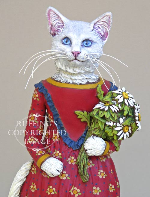 Princess Anna, Original One-of-a-kind White Cat Folk Art Doll Figurine by Max Bailey