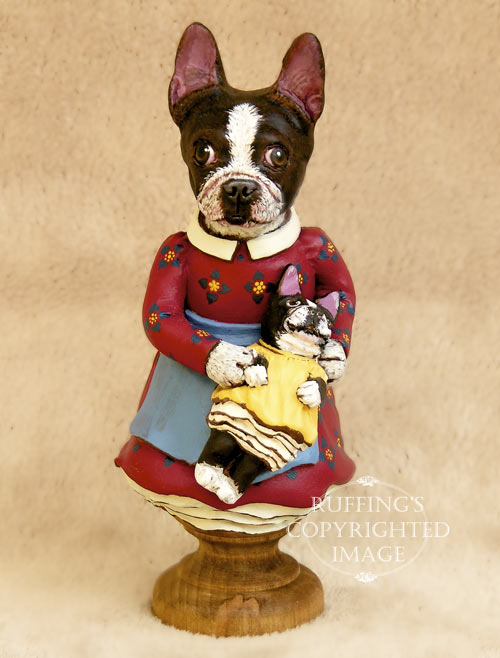 Prudence the Boston Terrier, Original One-of-a-kind Folk Art Dog Doll Figurine by Max Bailey