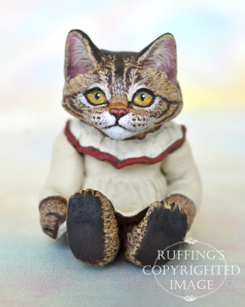 Rachel, miniature tabby Maine Coon cat art doll, handmade original, one-of-a-kind kitten by artist Max Bailey