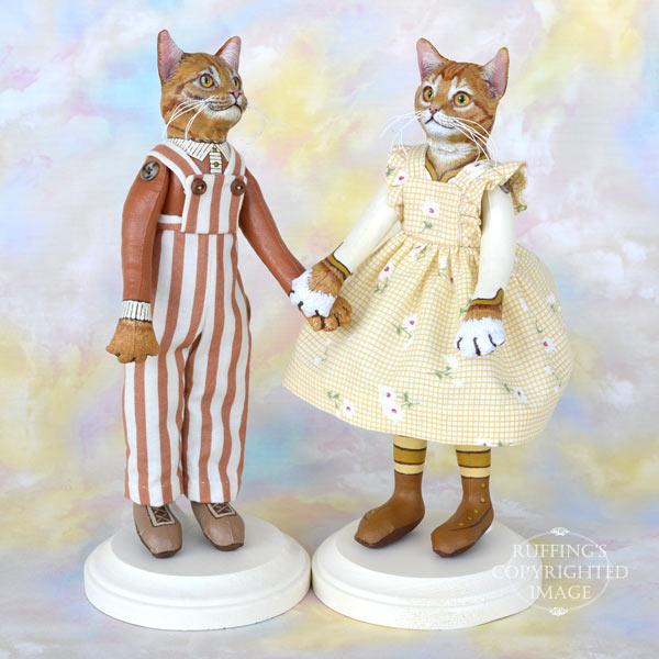 Tommy and Maizie, ginger tabby original one-of-a-kind art dolls by Max Bailey