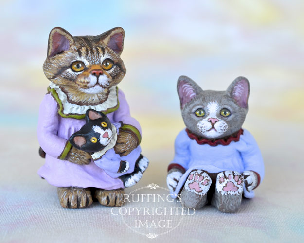Regina and Ragsy, miniature Maine Coon cat art doll, handmade original, one-of-a-kind kitten by artist Max Bailey