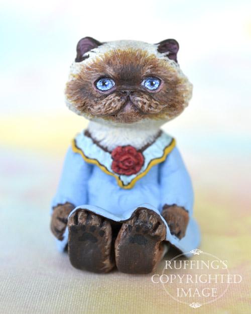 Rhonda, miniature Himalayan cat art doll, handmade original, one-of-a-kind kitten by artist Max Bailey