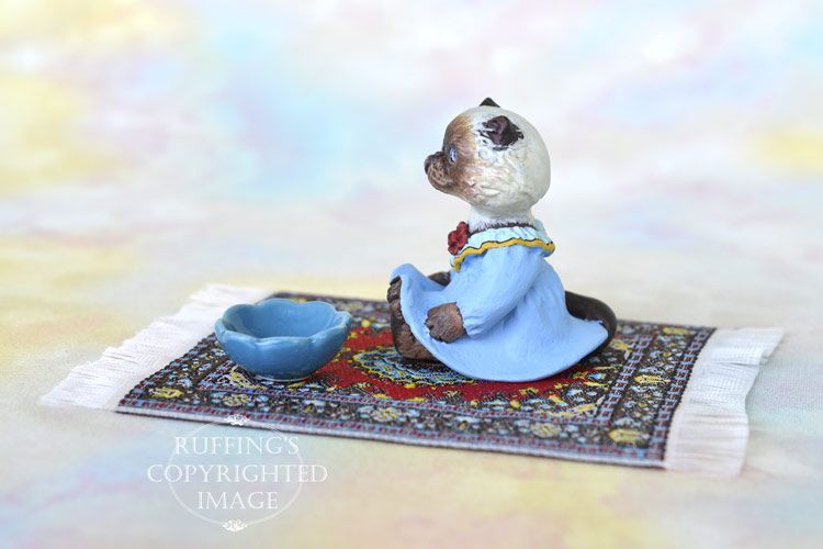 Rhonda, miniature Himalayan cat art doll, handmade original, one-of-a-kind kitten by artist Max Bailey