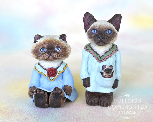 Rhonda, Zelma and Zooey, miniature Himalayan and Siamese cat art dolls, handmade original, one-of-a-kind kittens by artist Max Bailey